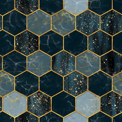 Marble hexagon seamless texture with gold. Abstract background