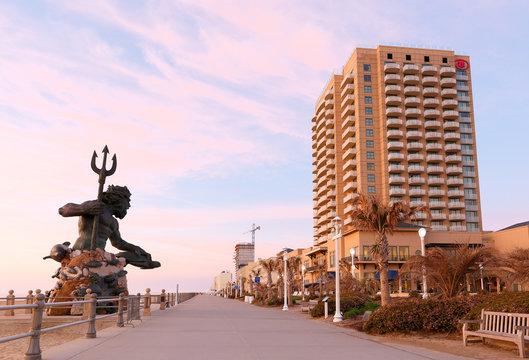 The King Neptune Statue at Virginia Beach Before Sunrise.