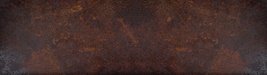 Rusty grunge dark metal texture background banner panorama