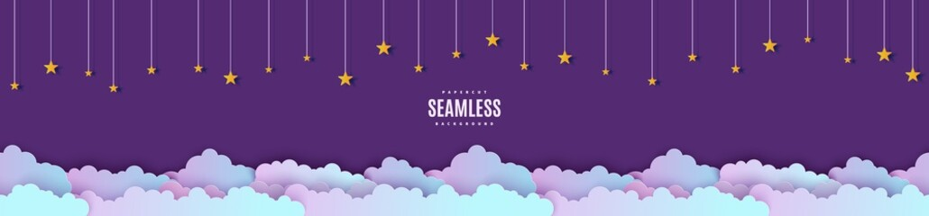 Photo sur Plexiglas Aubergine Night sky seamless pattern in paper cut style. Cut out 3d background with violet and blue gradient cloudy landscape with stars on rope papercut art. Cute vector origami clouds repetitive border