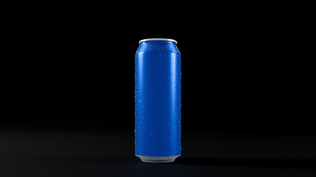 3D image of one blue aluminium cold can with water droplets. On black isolated background