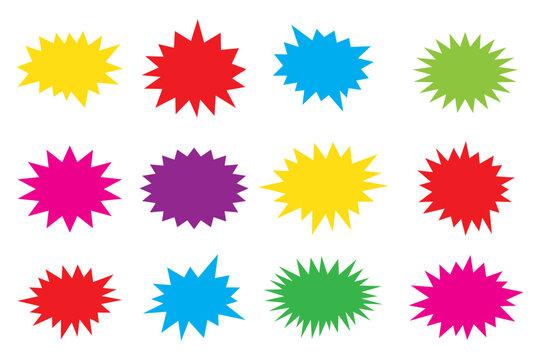 Starburst speech bubbles set, star sticker vector, Bursting icon, Explosion vector , isolated on white background