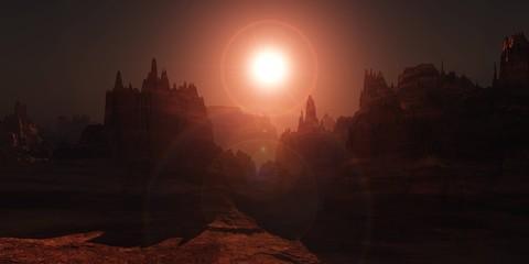 Marron chocolat Beautiful sunset on Mars, Mars at sunrise, the surface of Mars under the Sun, 3D rendering