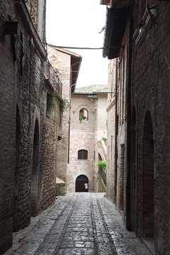 narrow street ally in medieval town