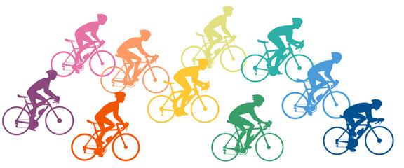 silhouette of bike racers Wall mural