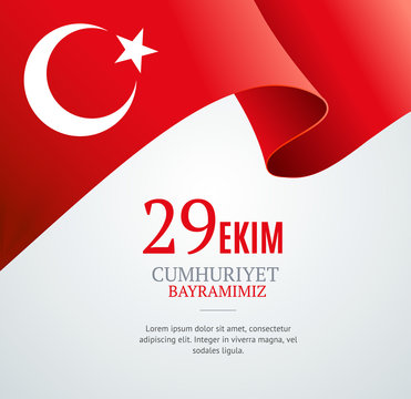 Realistic 3d Detailed Turkey Flag Banner Background. Vector