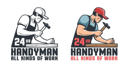 Handyman retro logo. Worker hammering nail - repair service vintage emblem.Vector illustration.