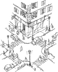 hand drawn architectural sketch of city crossroads with cars and people walking on pavement
