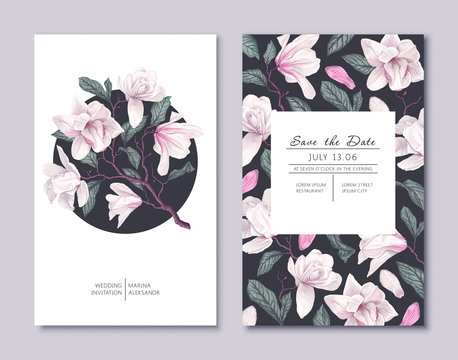 Botanical wedding invitation card. Template design with white magnolia flowers. Spring flowers, branches, petals and leaves. Vector, realistic style, high detail. Collection of Save the Date and RSVP