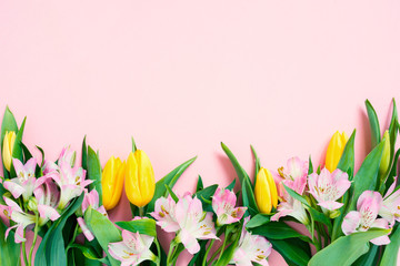 Wall Mural - Pink background with spring flowers, festive composition for spring holidays