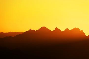Garden Poster Brown Scenic sunset light over the Dolomites, Italy, Europe