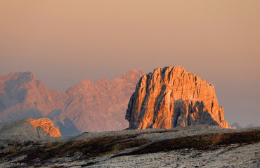Sunset view of Cima Ambrizzola and Croda da Lago, Dolomites mountains, Italy, Europe
