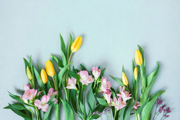 Wall Mural - Tender composition with spring flowers, festive card for spring holidays