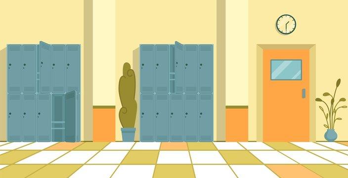 Blue Metal Lockers in Empty High School Corridor