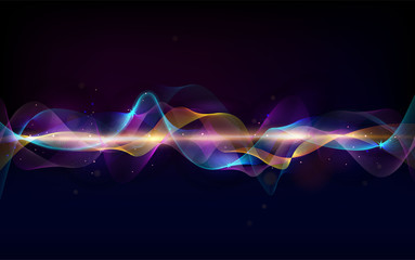 Abstract wave curve lines. Music abstract background. Equalizer for music. Dynamic colorful particles sound wave. Cool Sound Freque. Blurred abstract lights. Beautiful wave shaped array of glow. Wall mural