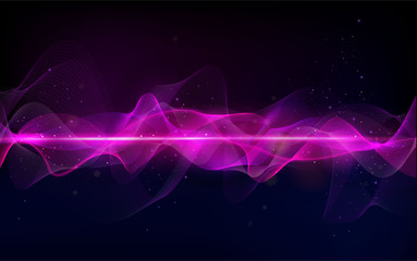 Abstract wave curve lines. Music abstract background. Equalizer for music. Dynamic colorful particles sound wave. Cool Sound Freque. Blurred abstract lights. Beautiful wave shaped array of glow. Fotoväggar