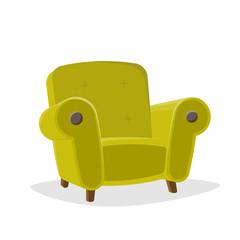 retro cartoon illustration of a green armchair