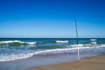 Fishing rod at the beach