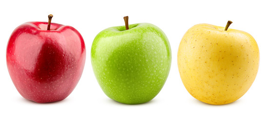 colorful apples, red green and yellow fruit, isolated on white background, clipping path, full depth of field Wall mural