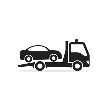 Tow truck icon, Towing truck with car sign. Vector isolated flat design illustration