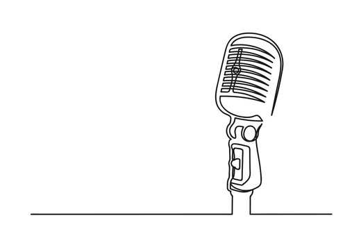 Continuous one line drawing of a microphone