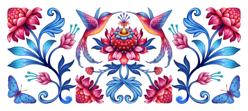 digital illustration, abstract floral pattern with birds, red blue folklore motif isolated on white background, watercolor texture, horizontal botanical design, modern fashion print