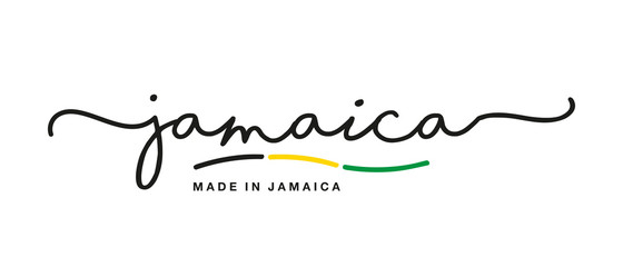 Made in Jamaica handwritten calligraphic lettering logo sticker flag ribbon banner