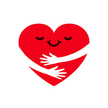 Hugging charity icon, love yourself, family community, cute cartoon heart character hug, heart with hugging arms, hands holding heart, self care and happiness - stock vector