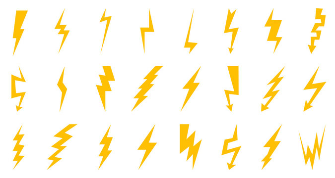 Set thunder and bolt lighting flash icon. Electric power thunderbolt, lightning bolt icon, dangerous sign – vector