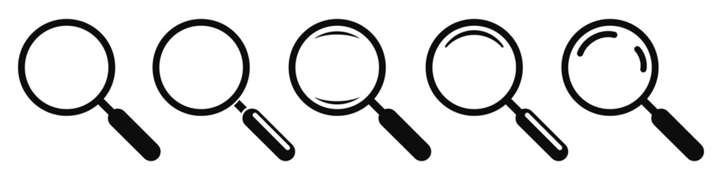 Magnifying glass instrument set icon, magnifying sign, glass, magnifier or loupe sign, search – stock vector