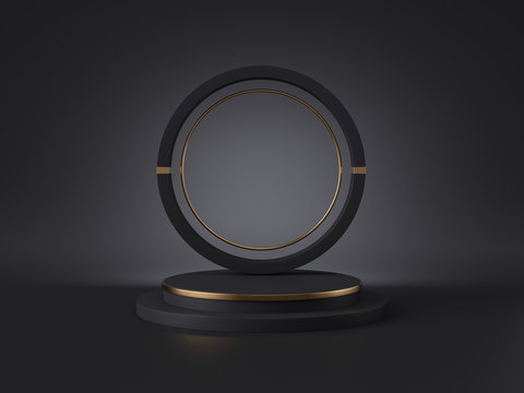 3d rendering of pedestal isolated on black background, round gold frame, ring, cylinder steps. Blank podium. Abstract minimal concept, blank space, luxury minimalist mockup, premium futuristic design