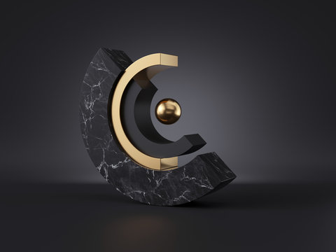 3d abstract black gold minimal modern geometric background, isolated objects. Cut cylinder blocks, black marble stone texture, golden ball, simple clean style, classy decor, premium concept design