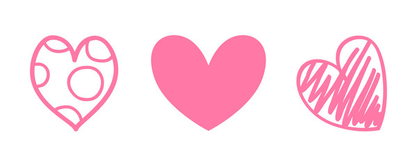 Different pink hearts on white. Abstract shape of heart on isolated background. Love symbol