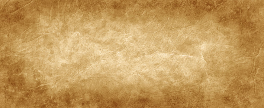 Brown texture background in old vintage crumpled brown paper design with antique stained dark brown borders and gold beige center, distressed parchment or manuscript design