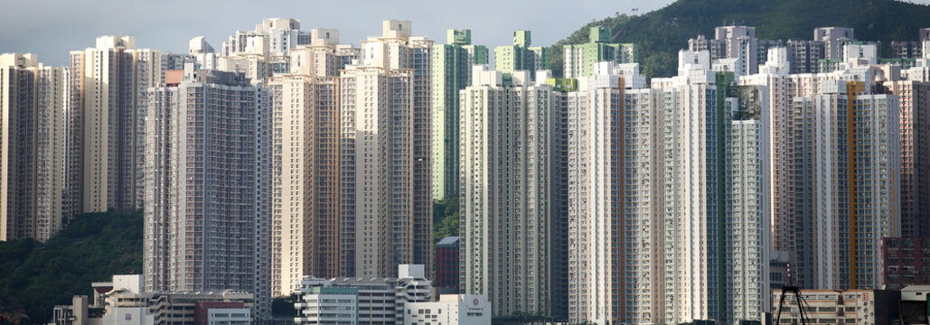 tall building of skyline , hong kong old area, crowded housing