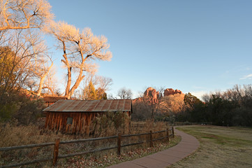 Cathedral Rock and Crescent Moon Ranch near Sedona, Arizona on clear late winter afternoon.
