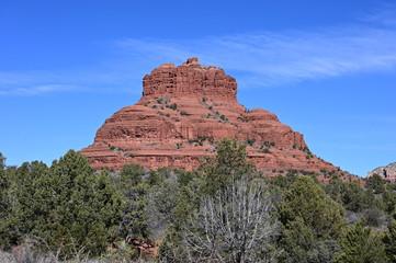 Bell Rock formation near Oak Creek, Arizona on clear winter morning.