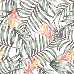 Wall Mural - Green leaves seamless flowers pattern white background