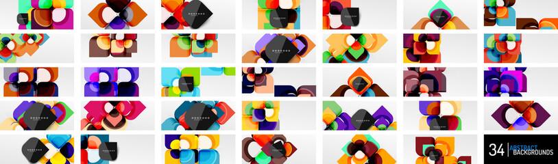 Mega set of abstract backgrounds - geometric cut paper design flowers or square shape compositions. Vector Illustrations For Wallpaper, Banner, Background, Card, Book Illustration, landing page Fototapete
