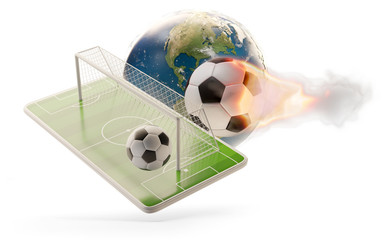 soccer ball phone world and soccer goal 3d-illustration. elements of this image furnished by NASA