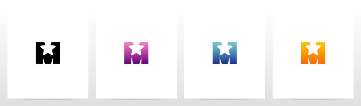 Star On Letter Logo Design M