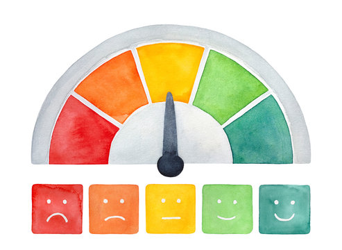 Colorful speed meter sign and five various facial expression emoticons of different color: red, orange, yellow, light and dark green. Hand drawn watercolour graphic illustration on white background.