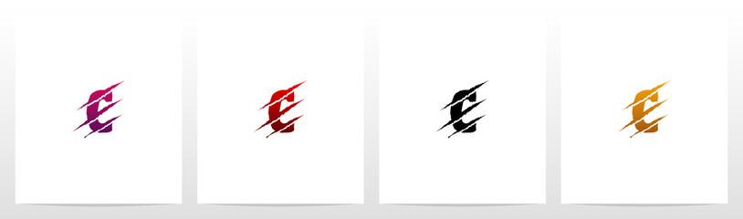Claw Marks On Letter Logo Design C Fotoväggar