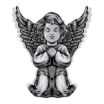 baby angel statue vector illustration