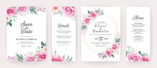 Wedding invitation card template set with watercolor floral arrangements and border. Flowers decoration for save the date, greeting, poster, cover, etc. Botanic illustration vector