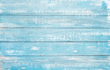Poster Wood Vintage beach wood background - Old weathered wooden plank painted in turquoise or blue sea color.