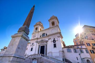 The Spanish Steps and the Trinita dei Monti in Rome, Italy.