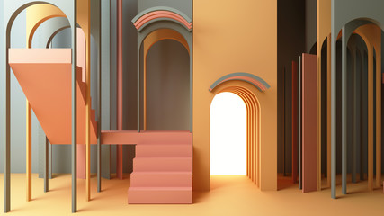 3d render illustration in modern geometric style Arch and stairs in trendy minimal interior Gradient pastel colors background Abstract composition