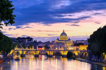 A view along the Tiber River towards Vatican City in Rome, Italy.