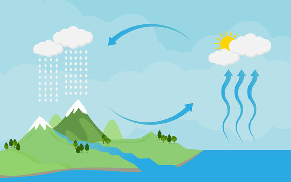 Basic RGBCirculation cycle and water condensation,diagram showing the water cycle in nature.vector illustration and icon